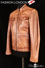 'DRIFTER' Men's Tan Biker Motorcycle Style Fitted Lambskin Leather Jacket