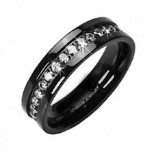 Solid Titanium Black with Eternity CZ Stones Wedding Band Ring R121