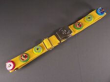 "Yellow seat belt soda pop bottle cap canvas adjustable seatbelt 1.25"" wide"