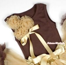 Baby Brown Pettitop Tank Top Shirt Bunch Goldenrod Rose Bow For Pettiskirt NB-8Y
