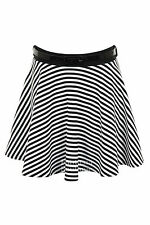 Ladies Black White Monochrome Stripe Belted Flare Mini Skater Short Skirt 8-14