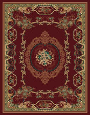 BURGUNDY european FLORAL carpet TRADITIONAL red BORDER french MEDALLION area RUG