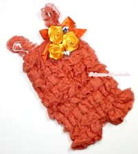 Baby Girls Orange Lace Rose Petti Posh Romper Rosettes Crystal Rompers NB-3Year