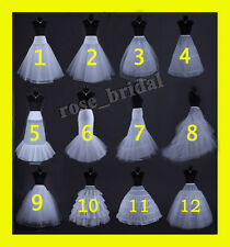 WHITE OR BLACK BRIDAL WEDDING DRESS PROM PETTICOAT UNDERSKIRT CRINOLINE S-XL