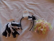 NWT Girl's Gymboree navy blue white pink hair accessories headband ponytail