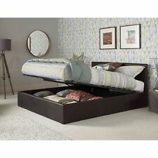 3ft 4ft 4ft6 5ft Faux Leather Ottoman Storage Bed Black Brown White + Mattress