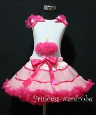 Hot Light Pink Trim Pettiskirt Dress White Pettitop Hot Pink Cupcake Set 1-8Year