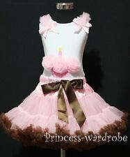 Light Pink Brown Pettiskirt Tutu Dress White Top Pettitop Pink Cupcake Set 1-8y