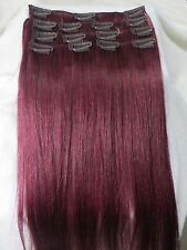"""15""""-28"""" Clips In Remy Human Hair Extension Fantasy Red Burg Bug 70/105/140g"""