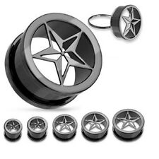 PAIR (2) Titanium Plated Rock Star EAR PLUGS Screw-Fit Tunnels Hollow GAUGES