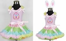 Pale Rainbow Pettiskirt Easter EGG Ruffle Bow Light Pink Top Rabbit Ear Set 1-8Y