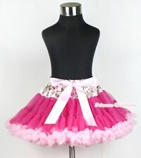 Floral Waist Hot Light Pink Girl Pettiskirt Skirt Dance Petti Tutu Dress 1-8Year
