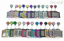 2 in 1 Bling Multi-Color Rhinestone Retractable Reel and Horizontal Badge Holder