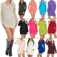 New Womens Ladies Plain Knit V-Neck Knitted Long Jumper Dress Size 8-14 S M L XL