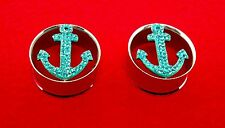 "Super Cool Steel Teal Color Anchor CZ Metal Double Flared Plugs( 2 g To 1"" inch)"