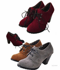 Vintage Style Women's High Heel Ankle Strappy Boots Lace Up Shoes AU Size YB137