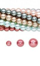 Huge Wholesale Lot of 10, 30 inch Strands Mixed Color Round Glass Pearl Beads