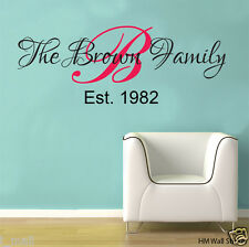DIY PERSONALISE Family Name Removable Wall Decal