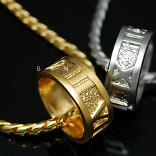 Roman Numeral Ring Pendant Chain Necklace 18k Gold & Silver Plated Mens Jewelry