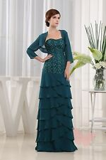 Teal Full Length A Line Evening MOTHER OF BRIDE OUTFIT SIZE 6,8,10,12,14,16#