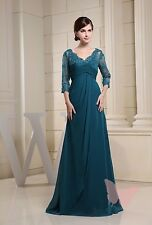 Green Chiffon Full Length Deep V MOTHER OF BRIDE OUTFIT SIZE 18,20,22,24,26,28#