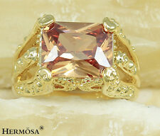 Fire Shiny Champagne Sapphire 925 Solid Sterling Silver & GP18K Gold Ring size.7