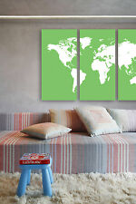 """Colorful Triptich World wall map custom design Home interior Large 48"""" x 31.5"""""""