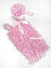 Newborn Baby Sparkle Light Pink Ruffles ONE PIECE Romper Kids Girls NB-3Year