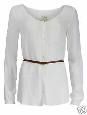 RRP £49.99 Womens Ladies Blend She Stylish Casual Blouse Shirt Belt in Off White