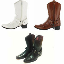 Mens Gents Western Style casual party Cowboy Boots brown black white sizes 6-12