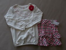 NWT Girl's Gymboree Parisian Chic ivory long sleeve shirt & skirt skorts ~ 6 7 9