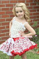 White Cherry Girl Pettiskirt with White Romantic Rose Pettitop Tank Top Set 1-8Y