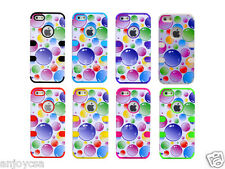 3-Layer Hybrid Rainbow Bubble Soft/Hard Case Cover For Apple iPhone 5 6th