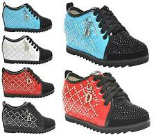 GIRLS SPRING SYNTHETIC GEMS LACES HIDDEN WEDGE KIDS PUMPS TRAINERS SHOES SZ 8-2