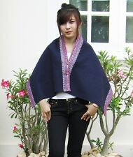 Vintage Funky Cotton Embroidered Batwing Cape Shawl Scarf Poncho Cardigan Jacket