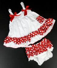 White Minnie Red White Dots Red Bows Swing Top With Bloomer 2pc Set For NB-4Y