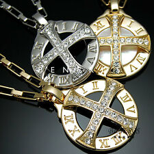 Sun Celtic Cross Roman Numeral Pendant Necklace Gold Silver Plated Mens Jewelry