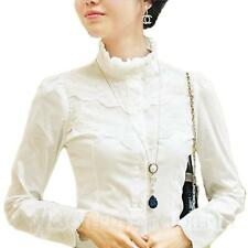 White Shirt Victorian Womens Sheer Top Ladies Office Chiffon Lace Blouse 4 6 2 0