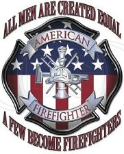 American Firefighter Hoodie All Men Created Equal EMS EMT Volunteer Fire Rescue