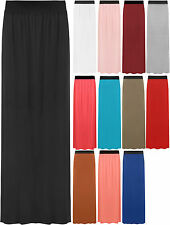 New Womens Plain Stretch Elasticated Ladies Full Length Long Maxi Skirt 8-14