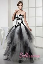 Big A line Black and White Prom WEDDING Dress Bridal GOWN Size 18,20,22,24,26,28