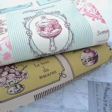 FRENCH PARIS PATISSERIE MACARON LINEN LOOK FABRIC script natural recipe FOLK