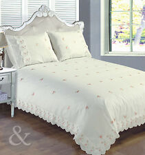 Vintage Floral Duvet Cover Cream & Pink Luxury Lace Embroidered Bedding Bed Set