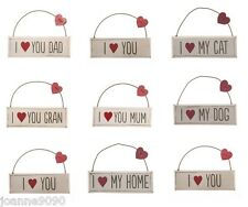 I LOVE YOU WOODEN HANGING HEART PLAQUE MUM DAD GRAN MOTHERS FATHERS DAY PET GIFT