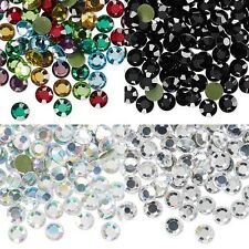 20 Iron On Hot Fix Faceted Rhinestone Crystals W/ Glue on Flat Back Small - Big