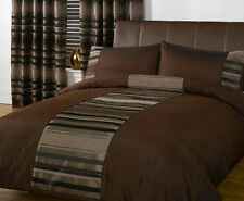 Luxury Modern Duvet Cover - Chocolate Brown Faux Silk & Chenille Bedding Bed Set