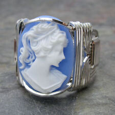 Cornflower Blue Acrylic Lady Cabochon Sterling Silver Wire Wrapped Ring ANY Size