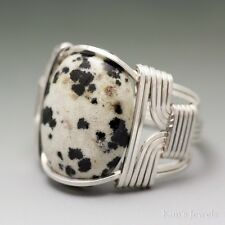 Dalmatian Jasper Cabochon Sterling Silver Wire Wrapped Ring ANY Size