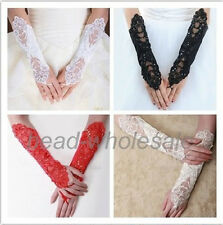 Bride Wedding Party Dress Fingerless Pearl Lace Satin Bridal Gloves Costume U