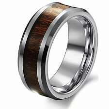 Grade Top 8mm Men's Tungsten Carbide Ring Wood Inlay Wedding Band Ring Size 7-12